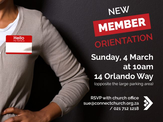 NEW MEMBERS ORIENTATION @ 14 Orlando Way | Cape Town | Western Cape | South Africa